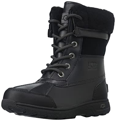 UGG Baby K Butte II Lace-Up Boot, Black, 1 M US Little