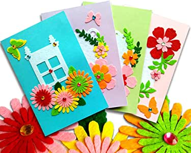 Amazon Com Card Making Kits Diy Handmade Greeting Card Kits For Kids Christmas Card Folded Cards And Matching Envelopes Thank You Card Art Crafts Crafty Set Gifts For Girls Boys Arts Crafts