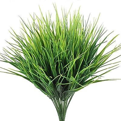Artificial Plants, Hogado 4pcs Faux Plastic Wheat Grass Fake Leaves Shrubs Simulation Greenery Bushes Indoor Outside Home Garden Office Verandah Wedding Decor