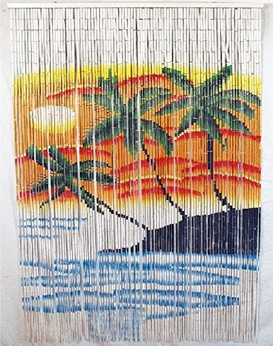 Palm Tree Bamboo Door Curtain (Bamboo Bead TROPICAL TRIPLE PALM TREE Door Patio Porch Room Divider Wall Hanging Curtain Art)
