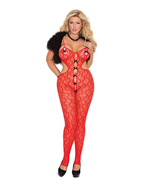582462b62a6 Amazon.com  Elegant Moments Women s Plus Lace Bodystocking Queen Size