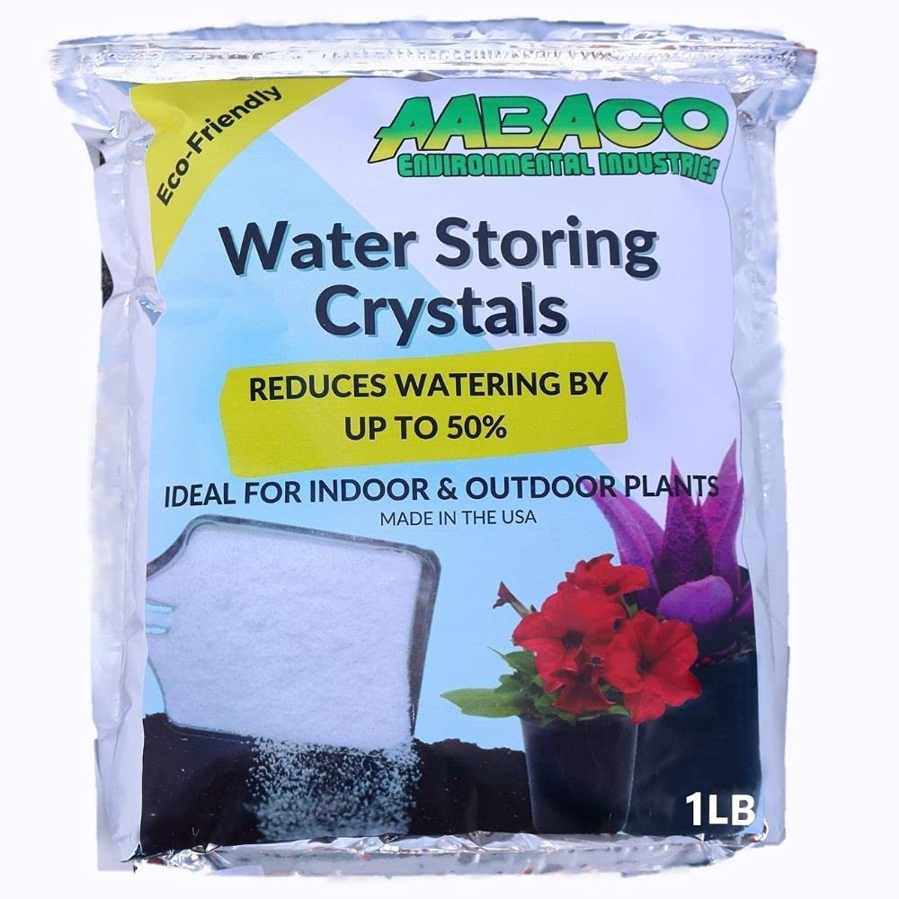 AABACO Water Storing Crystals - for Indoor & Outdoor Plants - Mix Crystals with Soil to Reduce The Amount of Watering Needed - Protect Against Heat - Watch Your Garden & Plant Grow (1LB)
