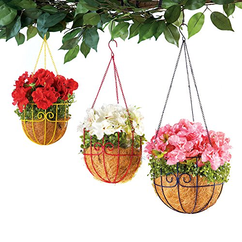 Set of 3 Colorful Metal Scroll Hanging Planter Baskets