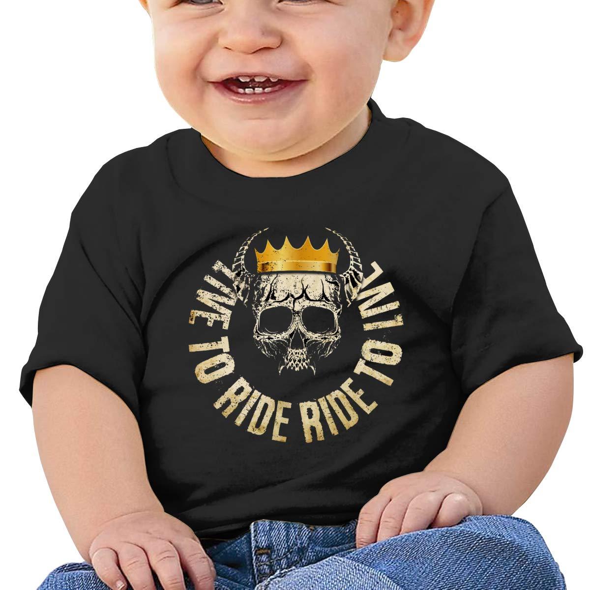 Hazhisha Skull Baby T-Shirt with Round Collar and Pure Cottonblack