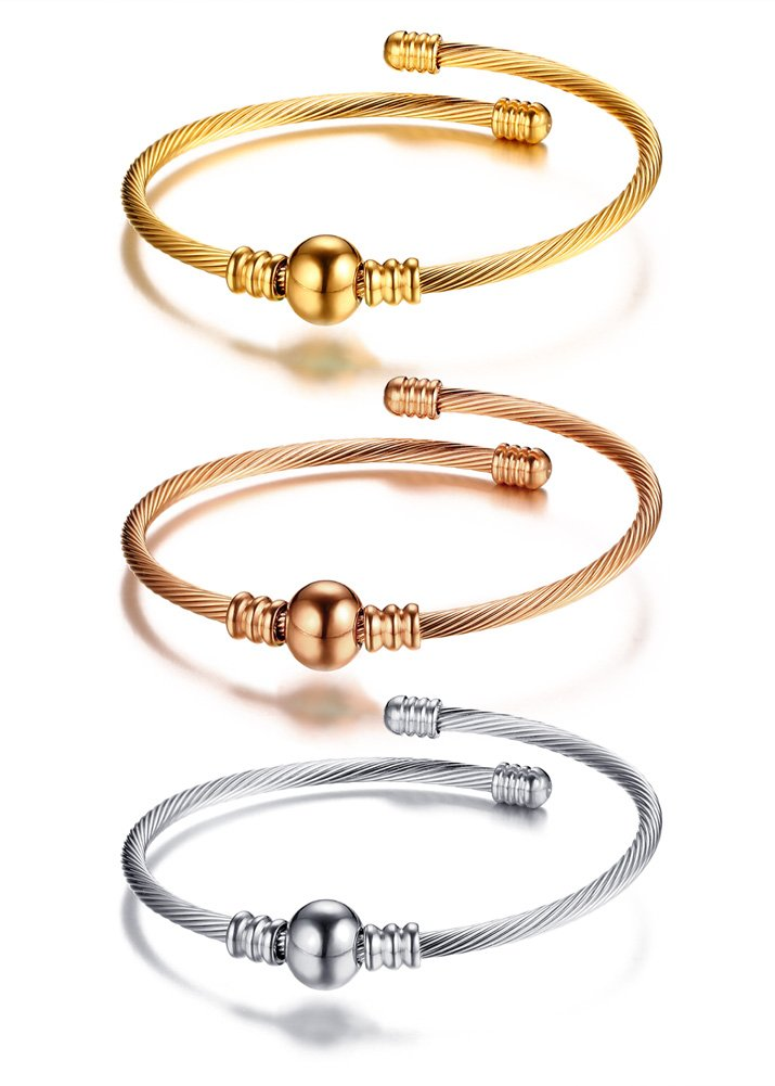 Mealguet Jewelry Fashion Stainless Steel Triple Three Stackable Cable Wire Twisted Cuff Bangle Bracelets Set for Women (Style 4)