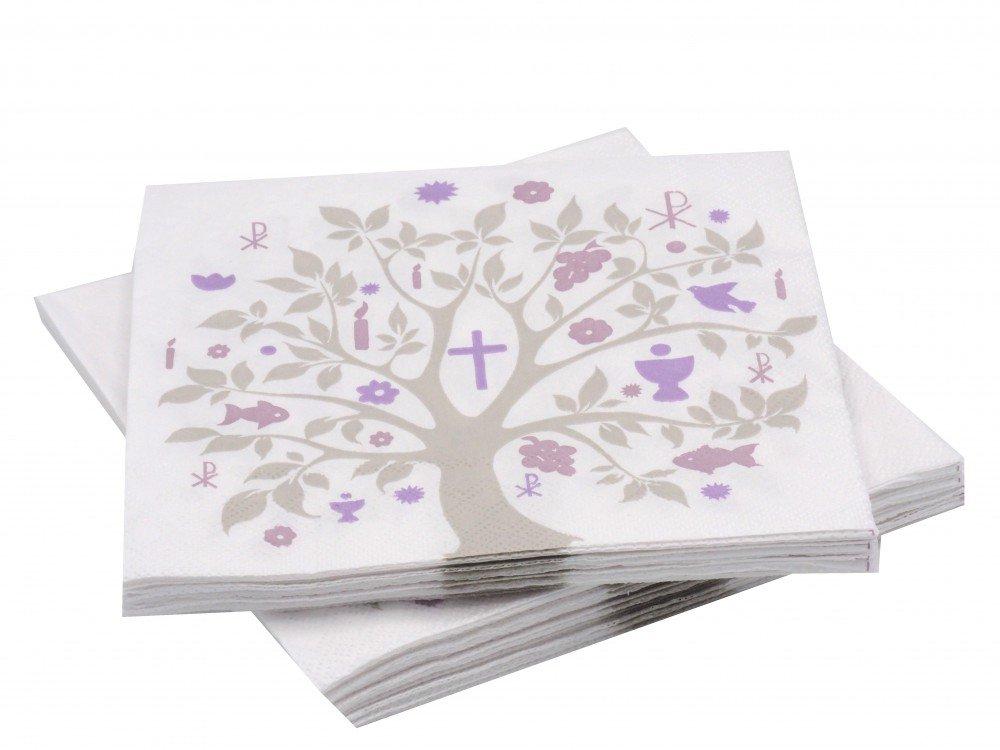 20 Servietten Baum des Lebens Mauve Lila Tischdeko Konfirmation ...