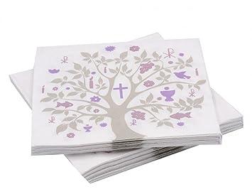 20 Servietten Baum Des Lebens Mauve Lila Tischdeko Konfirmation