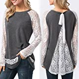 ChainSee Women Spring Lace Behind Split Casual O-Neck Long Sleeve Tops Blouse (L, Gray)