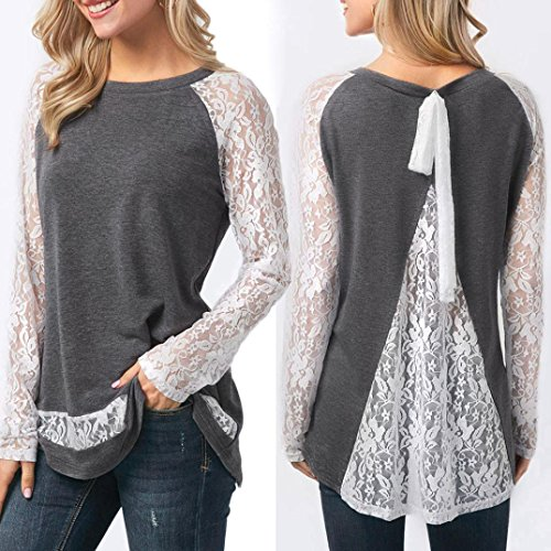 ChainSee Women Spring Lace Behind Split Casual O-Neck Long Sleeve Tops Blouse (L, Gray) by ChainSee