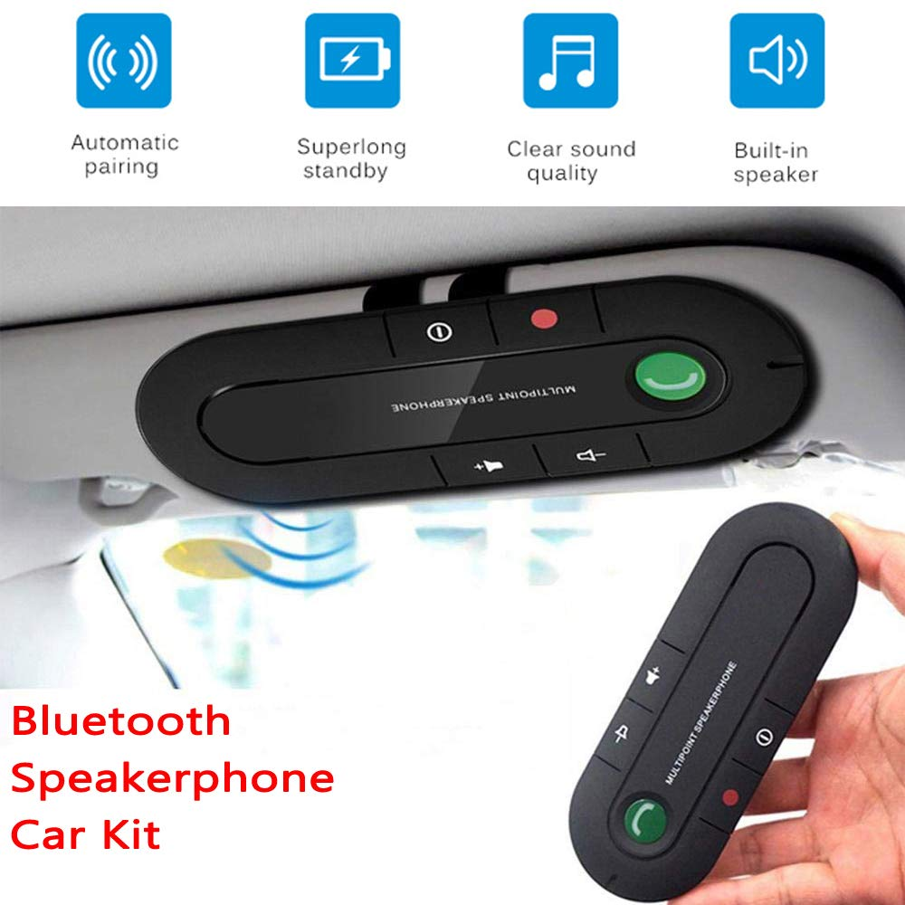 Salemar Handsfree Bluetooth Visor Speakerphone Car Kit Bluetooth Wireless Audio Music Receiver with USB Charging Ports MP3 /& Charger