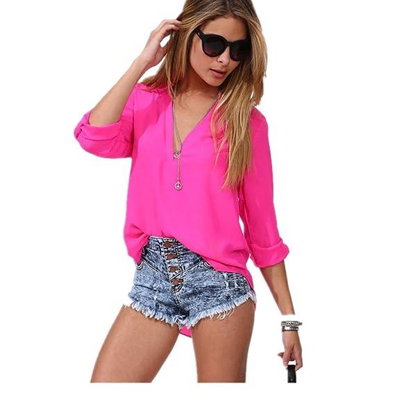 RETUROM Camiseta de Verano para Mujer, Moda Mujer Ocio Gasa Camisa de Manga Larga Blusa