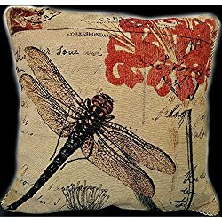 Crystal Emotion 18 X 18 Inch Cotton Linen Retro Vintage Home Decorative Indoor/Outdoor Throw Cushion Cover/Pillow Sham Dragonfly (E)