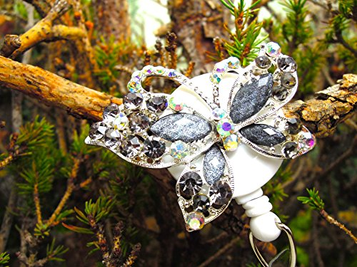 Butterfly Badge Holder Crystal Name Tag Clip Bling RN Retractable ID Reel Nurse Pinning Graduation Ceremony Gift Ideas for Mom Teacher Rhinestone Jewelry Stylish Insect Bug Design Animal Accessory -