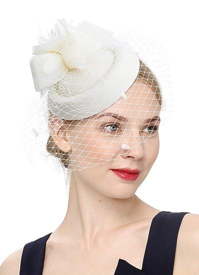 5b33299a4 Cizoe Fascinator Hair Clip Pillbox Hat Bowler Feather Flower Veil Wedding  Party Hat Tea Hat