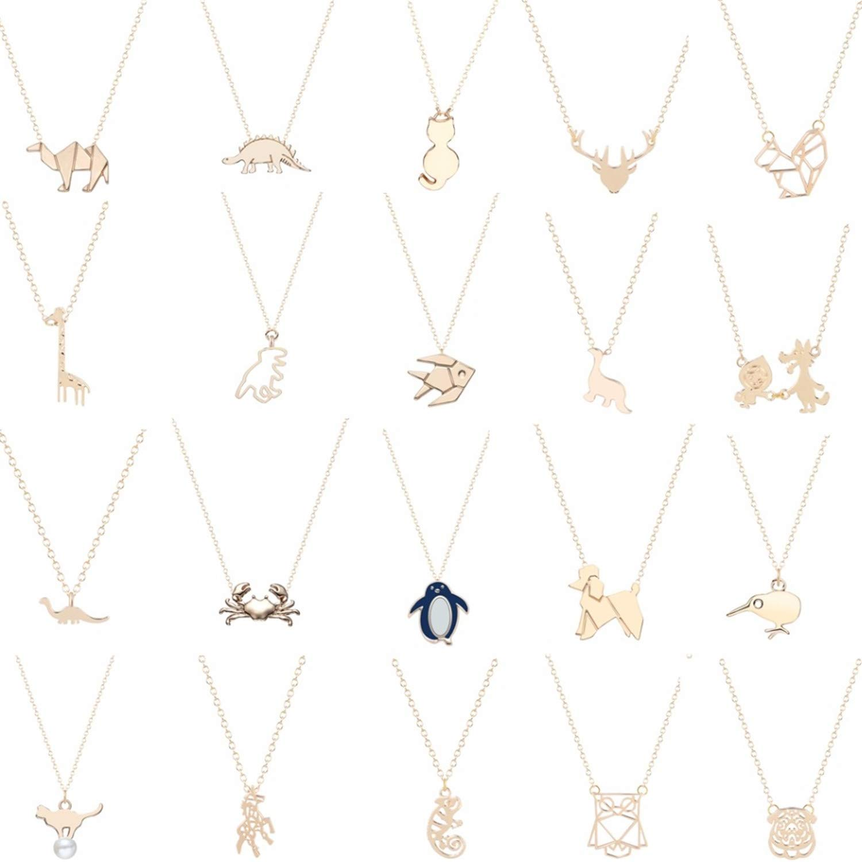 Dinosaur Rabbit Squirrel Penguin Crab Unicorn Bird Deer Owl Fish Dog Cat Animal Necklace Pendants Pet Lover Gift Jewelry Gold STYLE 13
