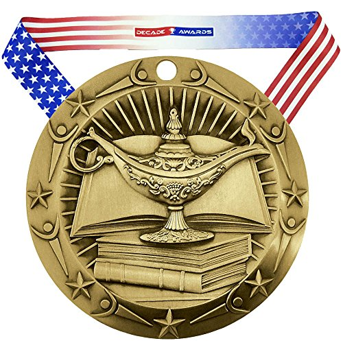 Decade Awards Academic World Class Engraved Medal, Gold - 3 Inch Wide Lamp of Knowledge First Place Medallion with Stars and Stripes American Flag V Neck Ribbon - Customize Now