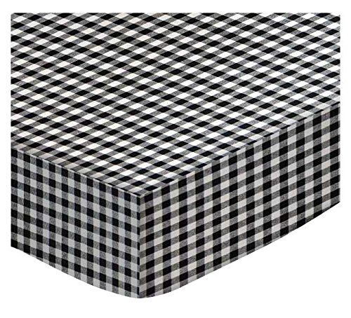 SheetWorld Fitted Portable / Mini Crib Sheet - Black Gingham