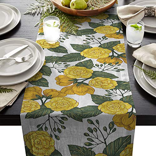Flower Nature Themed Cotton Linen Table Runners Hand Drawn Yellow Tablecloths for Kitchen Garden Wedding Parties Dinner Indoor Outdoors Home Decorations (18