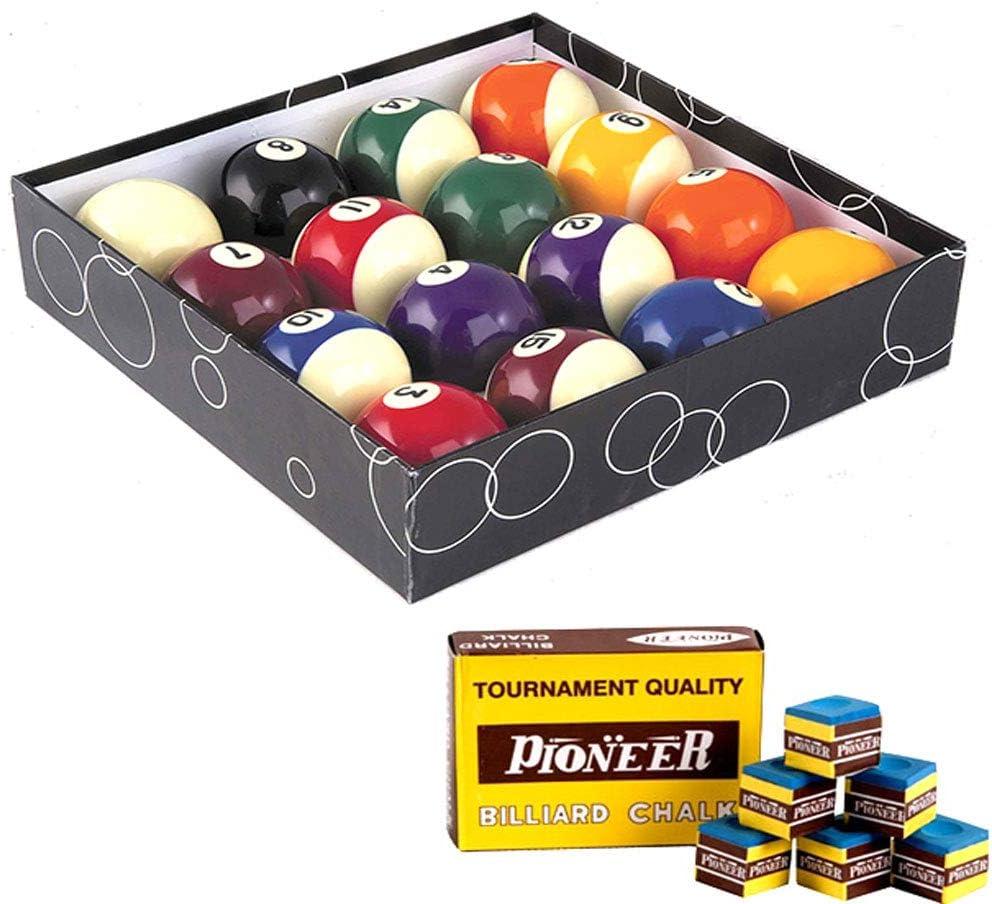 Oah - Juego de bolas de billar pool, 57,2 mm, 15 bolas de colores numeradas, 1 bola blanca, taco y tiza incluidos - -: Amazon.es: Deportes y aire libre