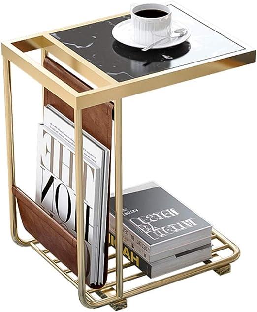 Mesa auxiliar nórdica, metal + mármol, mesa de centro ...