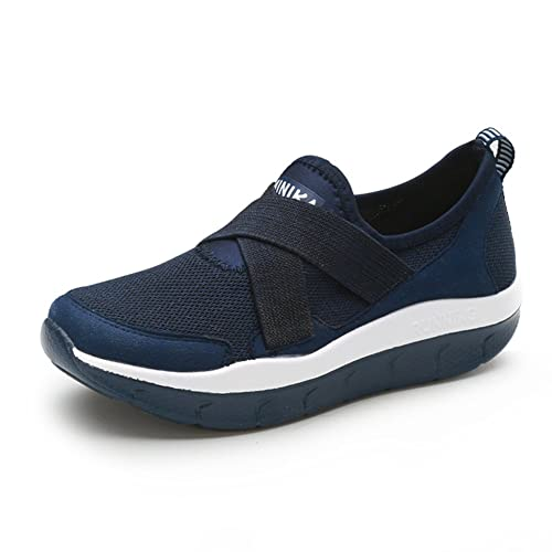 buy popular utterly stylish differently Femme Basket Creepers Chaussure Compensé pour Mère Marche Maille Pied Large  Sneakers sans Lacet Respirant Confortable 35-44(Recommandez la Taille Un ...