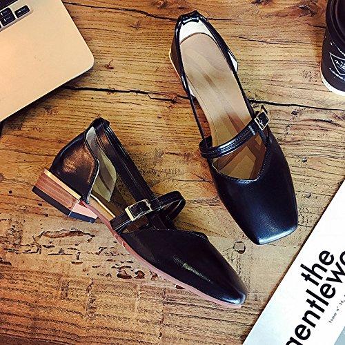 Negro Cabeza Con Solo Luz Cruz Suaves Zapatos Primavera De Expuestos Estudiantes Mujer Hermana Zapatos GAOLIM Cuadrada Sandalias Verano Con Zapatos De Los Y ABwRTfq