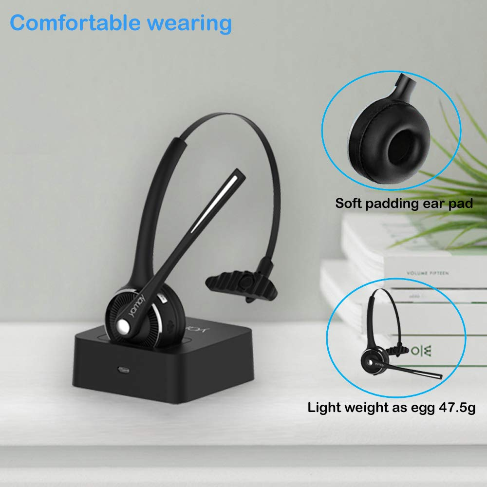 Pro Trucker Bluetooth Headset Office Wireless Headset,YAMAY Bluetooth Earpiece Noise Cancelling Headphones with Microphone,Charging Dock,Mute Function for Car Call Center iPhone Android Cell Phones