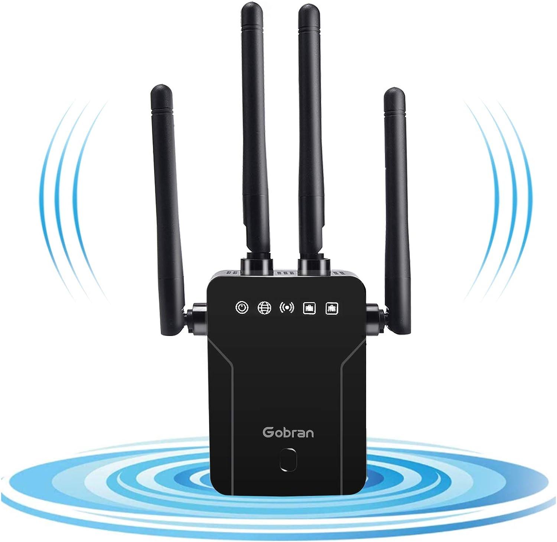 GOBRAN Repetidor WiFi 1200Mbps,Extensor de WiFi Doble Banda 2.4GHz y 5GHz,Amplificador de WiFi con Puerto Ethernet,4 Antenas ...