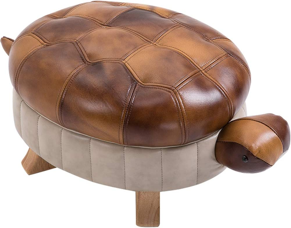 Kelendle Animal Footstool Turtle Upholstered Ottoman PU Leather Pouf Wood Foot Stool Rest for Living Room Bedroom Sofa Bench Seat Chair, Brown, Large