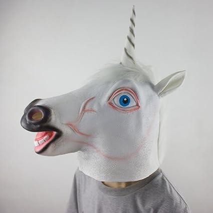 Laurelmartina Espeluznante Unicornio Máscara Cosplay Animal Disfraz de Halloween Máscara Teatro Prop