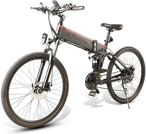 YDBET Bicicletas Plegables eléctricos para Adultos, Bicicletas de montaña Plegable de MTB 48V 350W para Hombres Borde 26 Pulgadas Modo 3 E-Bici,Blanco: Amazon.es: Deportes y aire libre