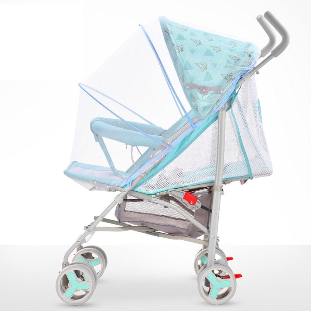 HAIZHEN マウンテンバイク 軽量折り畳み式が座ることができるベビーカート/蚊帳を広げるシート炭素鋼EVA発泡ショックアブソーバーホイールベビーカー38 * 61 * 102センチメートルで嘘の子供のトロリー完全なネットワーク換気調節可能なオーニング 新生児 B07DLD6WDH緑