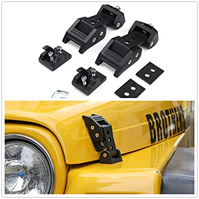 TJ Hood Latch Hood Lock Catch - JeCar Aluminum Hood Latches Catch Kit for Jeep Wrangler TJ Accessories 1997-2006: Automotive