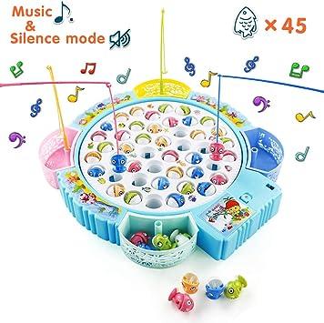 Symiu Juegos de Mesa Niñas Juego de Pesca Música Ajustable Juegos Educativos Regalo para Niños 3 4 5 6 Años con 45 Peces de Juguete: Amazon.es: Juguetes y juegos