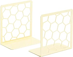 Premium Bookends Geometric Honeycomb Metal Book Ends (Yellow, 1 Pair) Book End for Shelves…