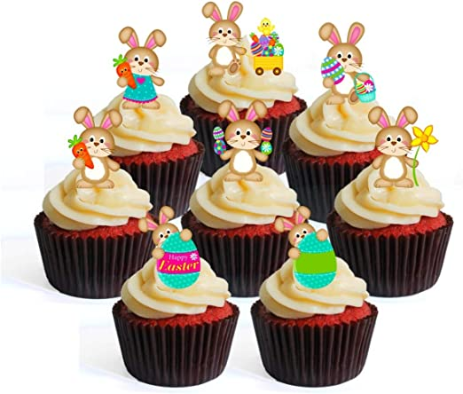 12 Happy Easter Cupcake Picks Ricepaper Cake Decorations stand up