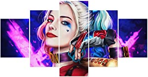 FUNHUA Sexy Harley Quinn Poster Unframed 5 Piece DC Movie Wall Art for Living Room Bedroom Girl Room Home Decor