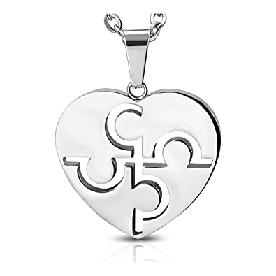 Stainless Steel Cut Out Puzzle Jigsaw Love Heart Pendant