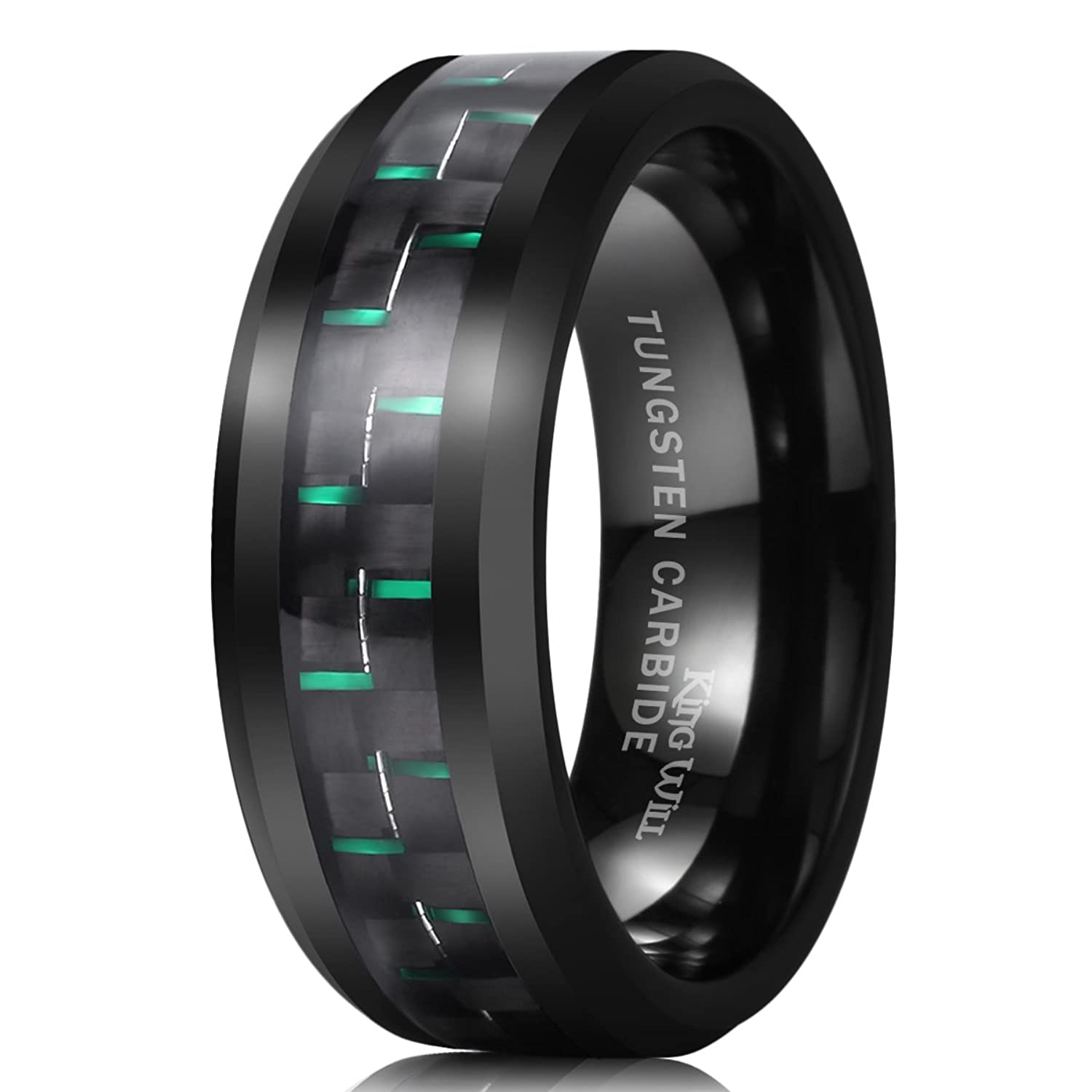 king will gentleman 8mm black tungsten carbide ring green carbon fiber polished finish comfort fit amazoncom - Black Mens Wedding Rings