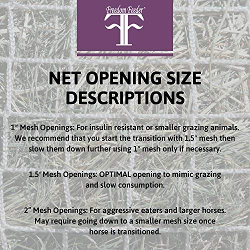 Freedom Feeder Small Mesh Hay Round Bale Net For Feeding | 4 Foot Round Net | Mimics Grazing and Slow Consumption | Fits Over Large Bales | 1 7/8'' Mesh Openings