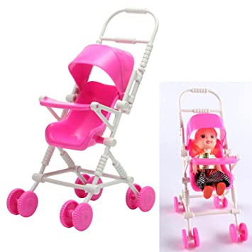 Tairacy New Assembly Pink Baby Stroller Trolley Nursery Furniture Toys For  Barbie Doll