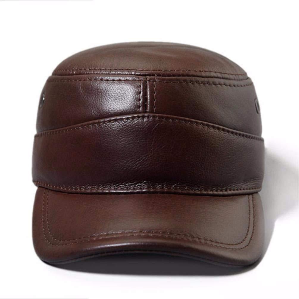 LIUXINDA-PM Mens Winter Leather hat Flat Cap Military Cap Outdoor Earmuffs Casual