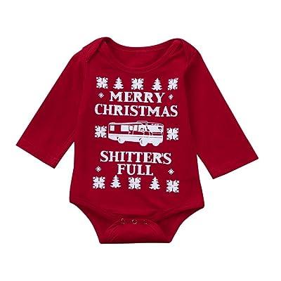 65e6cd31874 Pulison(TM) Baby Girls Boys Infant Letter Long Sleeve Christmas Clothes  Jumpsuit Romper