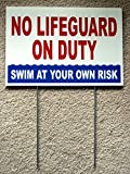 1 Pc Greatest Popular No Lifeguard Duty Sign Swim Board Risk Beach Plastic Printed Size 8'' x 12'' with Stake