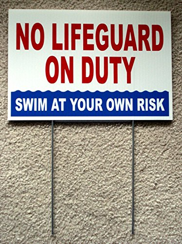 1 Pc Greatest Popular No Lifeguard Duty Sign Swim Board Risk Beach Plastic Printed Size 8'' x 12'' with Stake by GVGs Shop