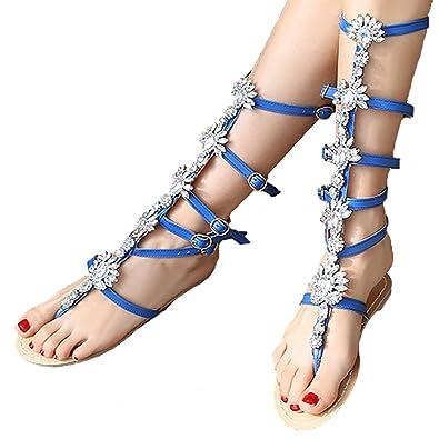 4477e2cb82b DoraTasia Roman Style Women s Concise PU Buckle Strap Rhinestone Mid Calf  Evening Flats Gladiator Sandals Boots