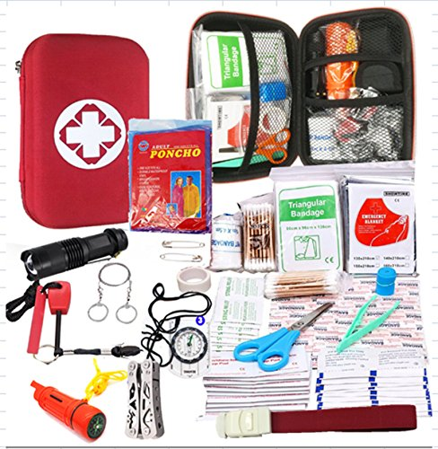 Emergency Survival Kit-First Aid Kit. Outdoor Survival Gear and Tools for Camping, Backpacking, Hiking, Hunting, Car or Adventure Travel. Includes Multi-tool Waterproof Match Case Poncho Compass