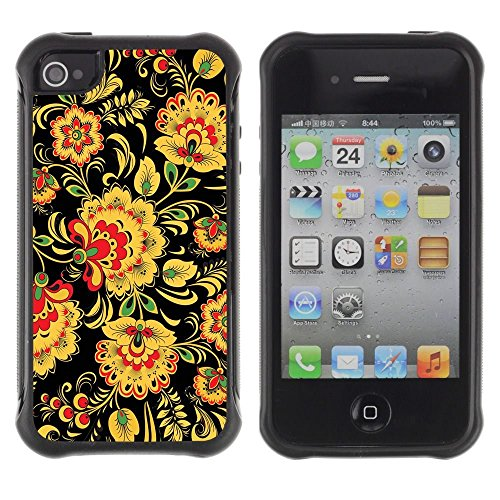iPhone 4 / iPhone 4S , Floral Pattern Wallpaper Art Flowers Yellow