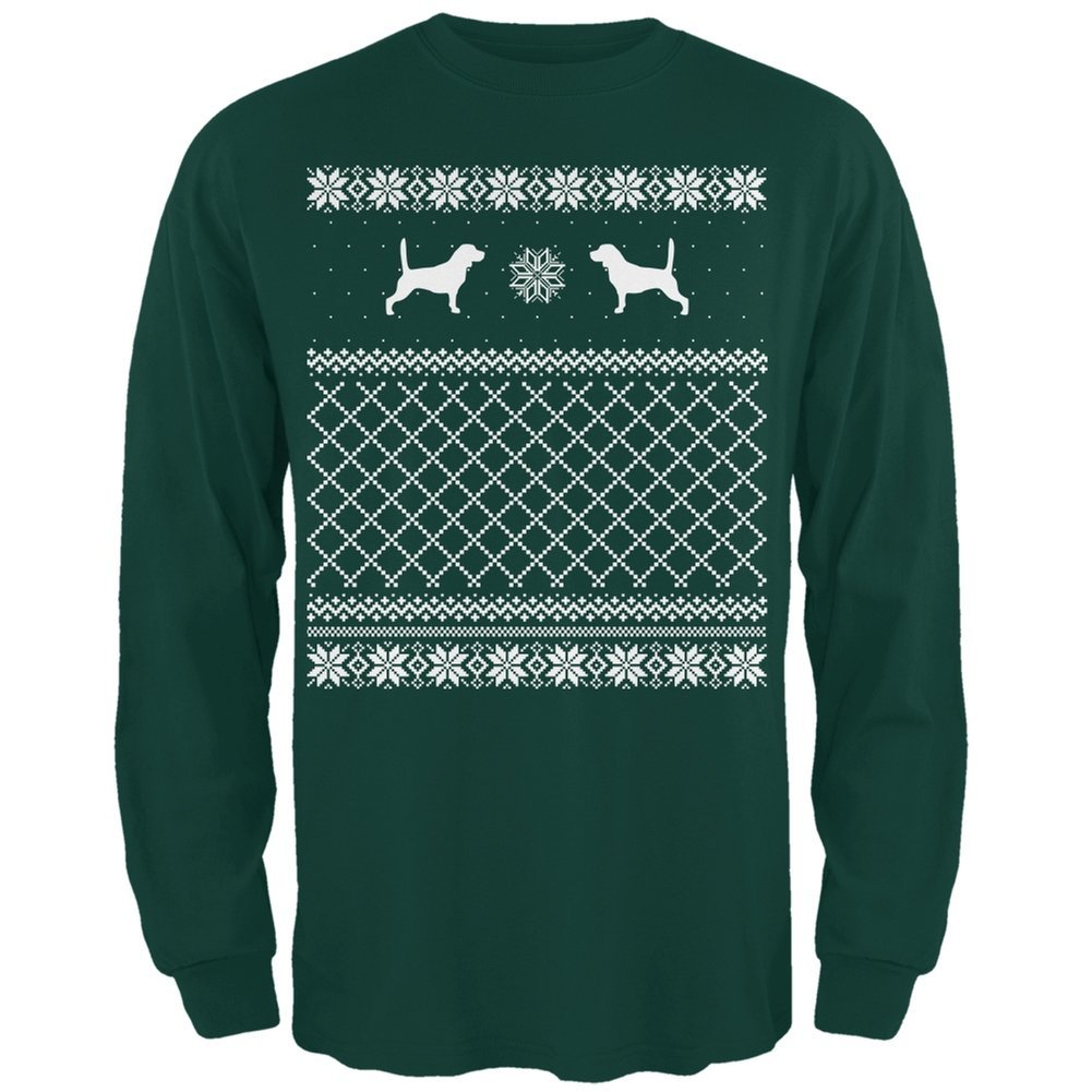 Beagle Ugly Christmas Sweater Forest Adult Long Sleeve T-Shirt Animal World AW036026