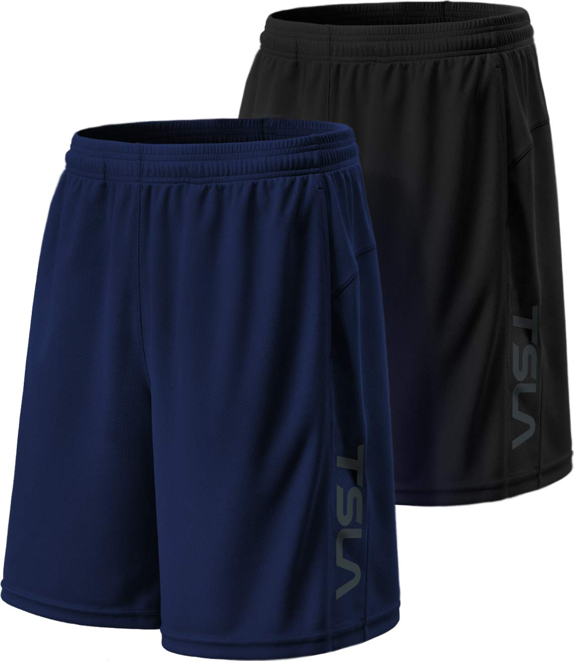 TSLA Men's HyperDri Cool Quick-Dry Active Lightweight Workout Performance Shorts (Pack of 2), Hyper Dri Dual Pack(mbh22) - Black/Navy, X-Small